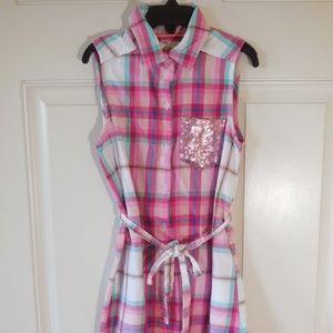 SO Pink Plaid Shirt Dress ~ Size 7/8 (S)